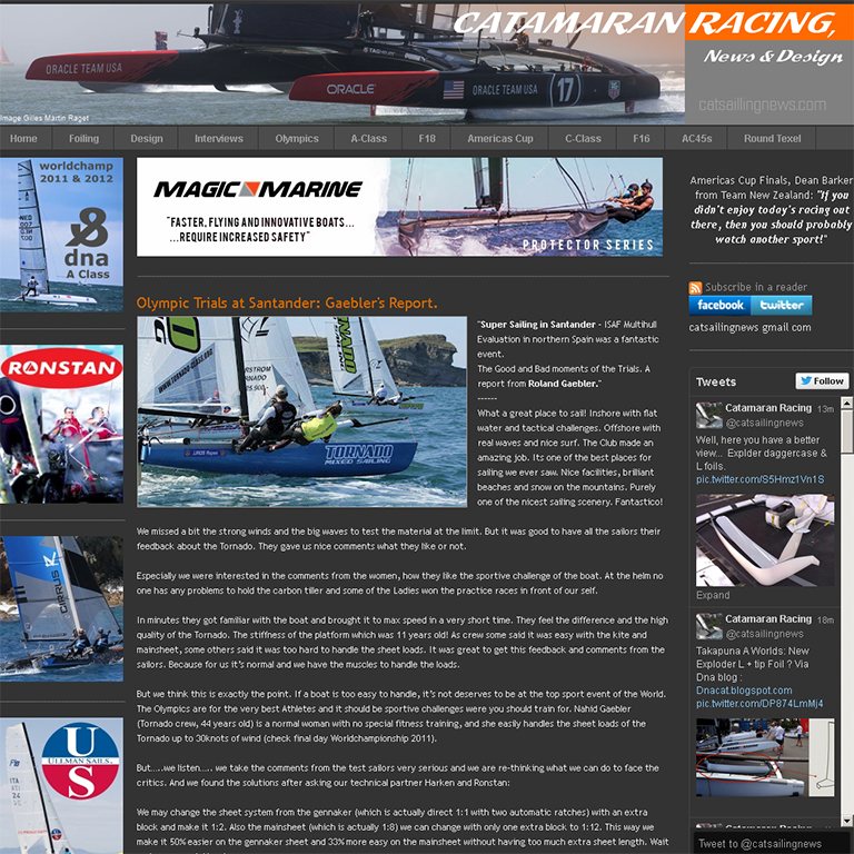 Olympic Trials at Santander, Catamaran Racing, News 2012